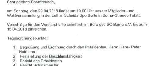 Mitgliederversammlung am 29.04.2018